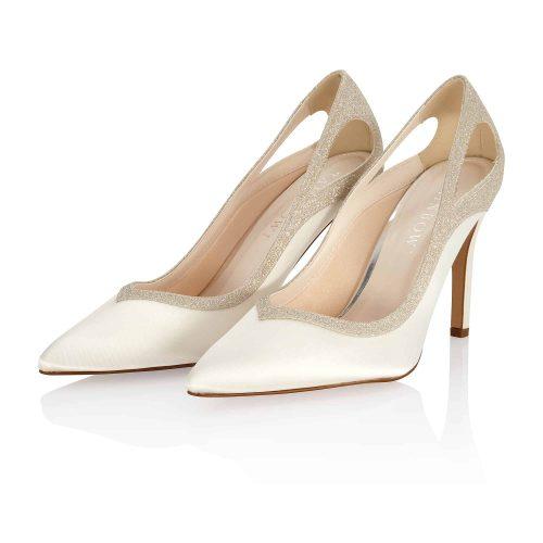 Sadiee Ivory Satin-Silver Fine Glitter 6